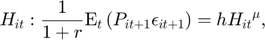 $$H_{it}: \frac{1}{1+r}\mathrm{E}_{t}\left(P_{it+1}\epsilon_{it+1}\right)=h {H_{it}}^{\mu},$$